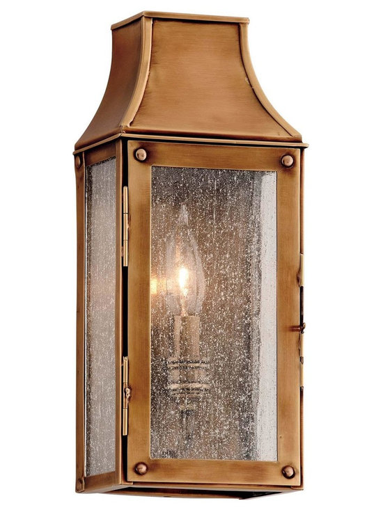 """Troy Lighting Beacon Hill 5"""" Outdoor Sconce in Brass - Troy Lighting presents the Beacon Hill Collection's outdoor wall sconce. This fixture comes in a Heirloom Brass finish and is constructed from Solid Brass. Dimensions: 12.875"""" high by 5.25"""" wide; extends 3.625"""" from surface."""