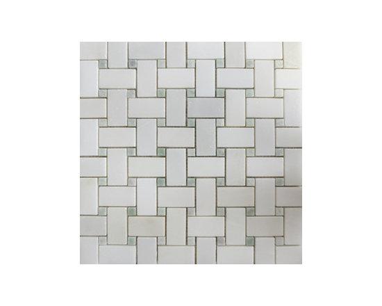 Ming Green & Thassos White Basketweave Natural Stone Mosaic -