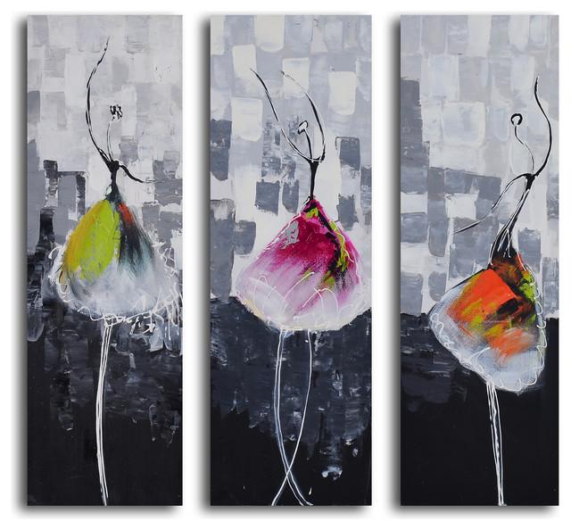 Tutu trio hand painted 3 piece canvas set contemporary for 3 piece painting ideas