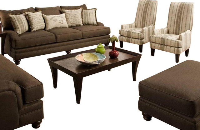 Chelsea Home Marilyn 4-Piece Living Room Set in Stoked Chocolate traditional-sectional-sofas