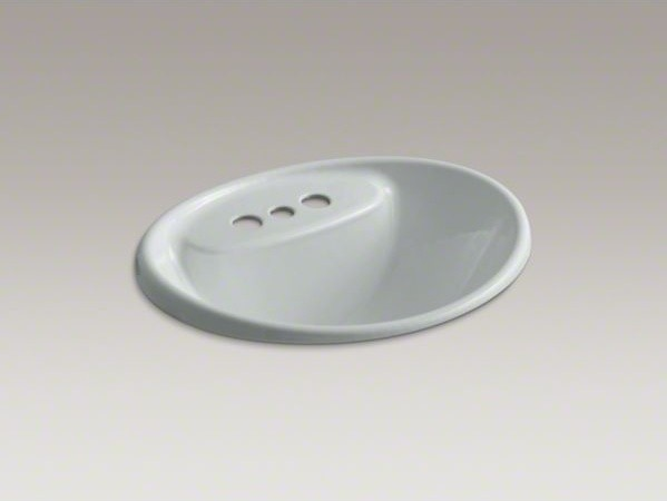 "KOHLER Tides(R) drop-in bathroom sink with 4"" centerset faucet holes contemporary-bathroom-sinks"