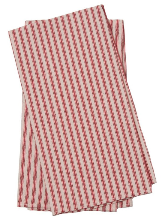 Birdkage - Brittany Tea Towels, Red - Sold in sets of two and also very popular as napkins.  Feature contrasting topstitching.Made in New York, USA
