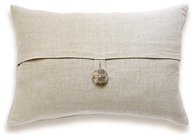 Natural Beige Textured Linen Lumbar Pillow Cover Shell Button 12x18 inch DREA DE