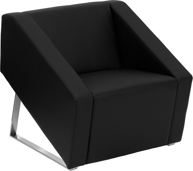 Art deco black leather reception chair contemporary for Contemporary furniture chairs