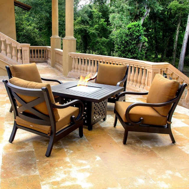 Avondale 4 Person Cast Aluminum Patio Deep Seating Set With Fire Pit Table