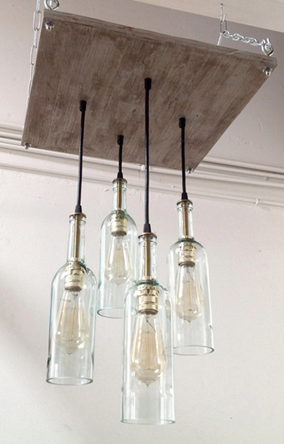 Industrial Cottage Chic Lighting With Wine Bottle Pendants: industrial style chandeliers