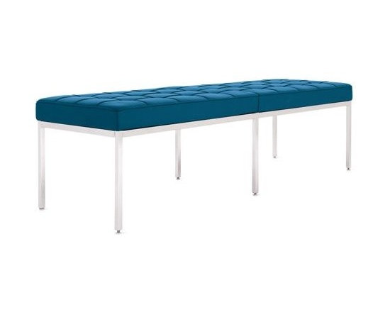 Knoll - Florence Knoll Bench | Design Within Reach - This tufted leather bench in aqua is both sophisticated and practical. Bench seating is always welcome, but I love that it also brings some cheer with with its vibrant blue color.