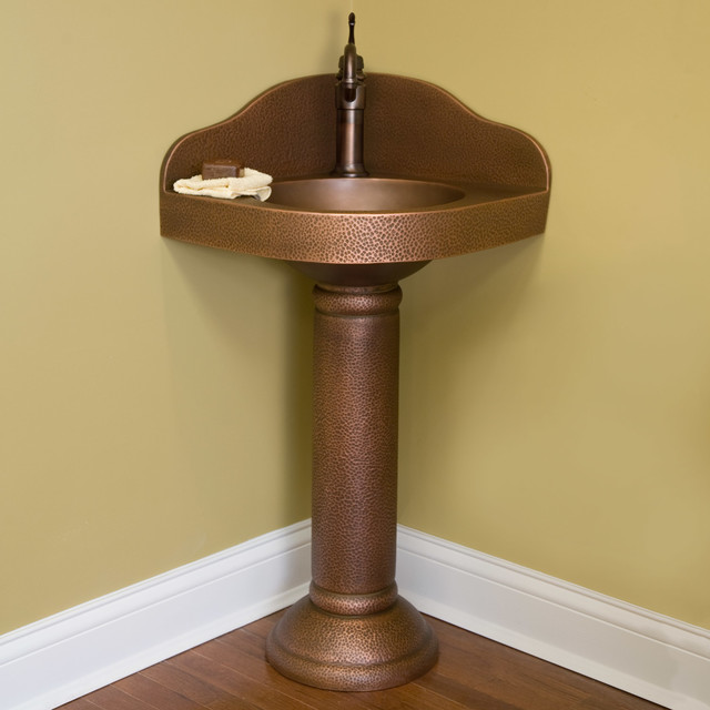Hammered Copper Corner Pedestal Sink - Contemporary - Bathroom Sinks ...