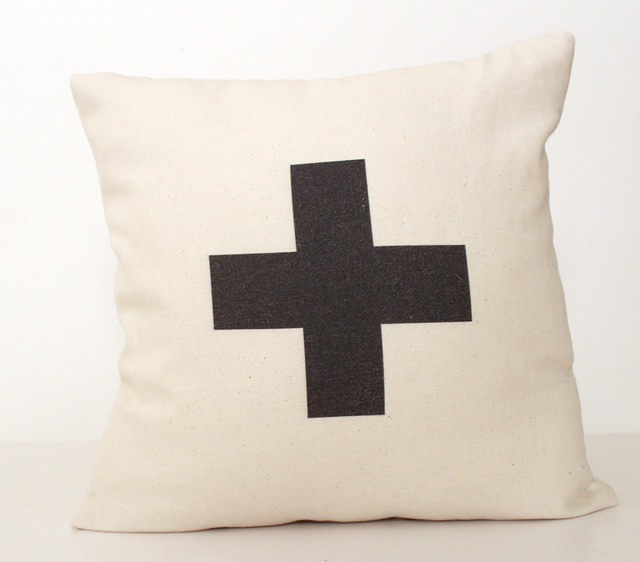 Plus Typographic/Swiss Cross Pillow by Zana - modern - pillows