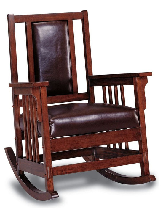 Adarn Inc - Rockers Mission Style Wood Rocker with Leather Match Seat and Back - This beautiful rocker will be a nice addition to your home, perfect for your mission style living room, library, or den. The high chair back features open slats, and a luxurious dark brown leather match padded panel, above a soft dark brown padded seat cushion. In a Dark Oak wood finish, the elegant wooden arms frame the chair, with a distinctive slat motif on the sides creating a classic look. Authentic exposed joinery is the perfect finishing touch on this gorgeous rocking chair.