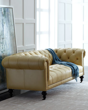 Old Hickory Tannery Fenway Tufted Leather Sofa traditional-sofas