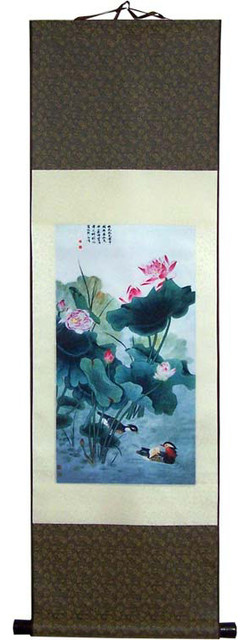 Life on a Calm Pond Chinese Print Scroll asian-artwork