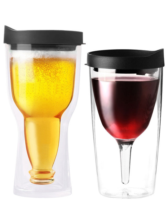 Adnart - Vino2Go & Beer2Go Set - Black - Double wall insulated wine tumbler with double wall insudated acrylic beer tumbler his and hers set