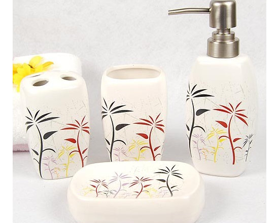 Coconut Tree Pattern Ceramic Bath Accessory Set - Bath Accessory Sets