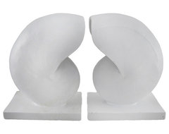 Pair of Decorative White Nautilus Shell Bookends Beach Decor contemporary-accessories-and-decor