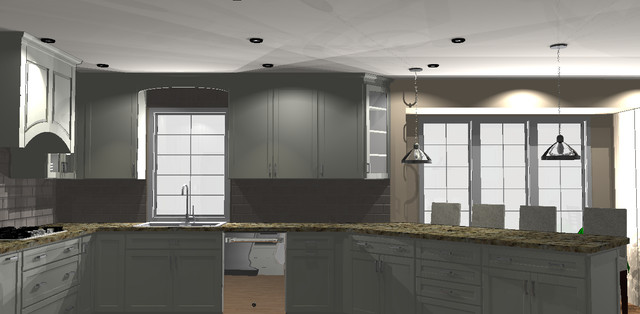Whit kitchen with 45 degree angle transitional rendering for Kitchen cabinets 45 degree angle