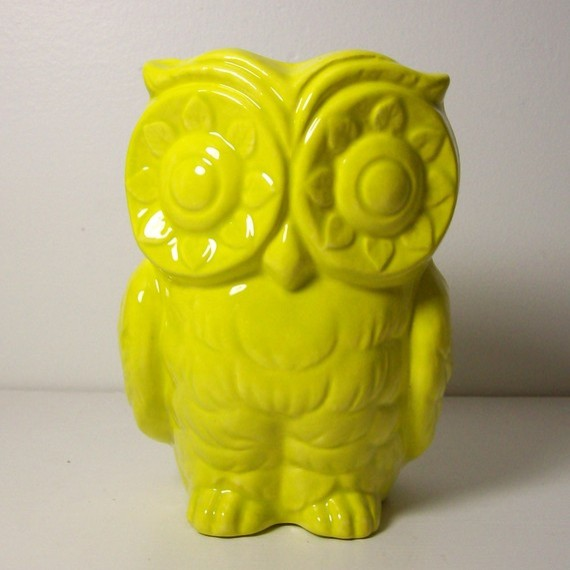 Ceramic Tiki Owl Planter Vintage Design In Star Fruit By fruitflypie eclectic indoor pots and planters