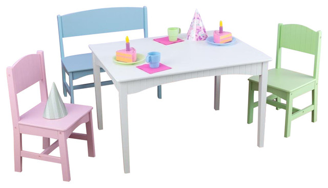 Nantucket Table With Bench And 2 Chairs Pastel By Kidkraft Contemporary