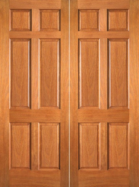 P 660 interior wood mahogany 6 panel double door for Double door wooden door