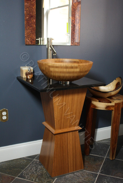 Bamboo Vanity With 21 Quot Wide Black Granite Stone Top And