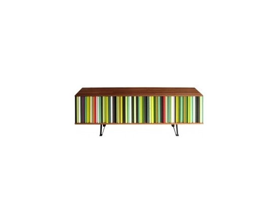 Eco Friendly Furnture and Lighting - France 21st Century A cabinet designed by French artist and made of salvaged Mahogany window frames, 3 doors. 2 outfitted with shelves and one bar cabinet with a drawer on top.