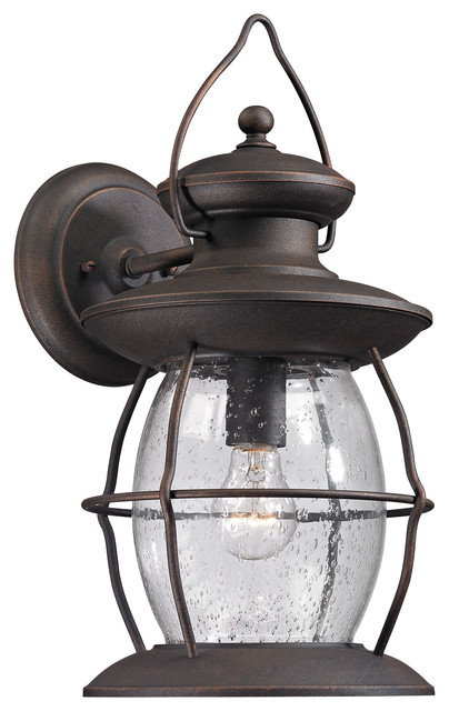 Elk Lighting Village Lantern Collection 1 Light Outdoor Sconce In Weathered Char modern-outdoor-lighting