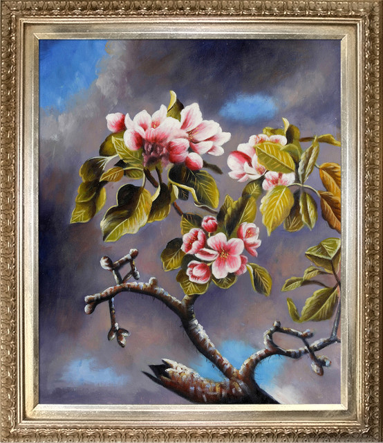 Heade - Branch of Apple Blossoms Against Cloudy Sky modern-prints-and-posters