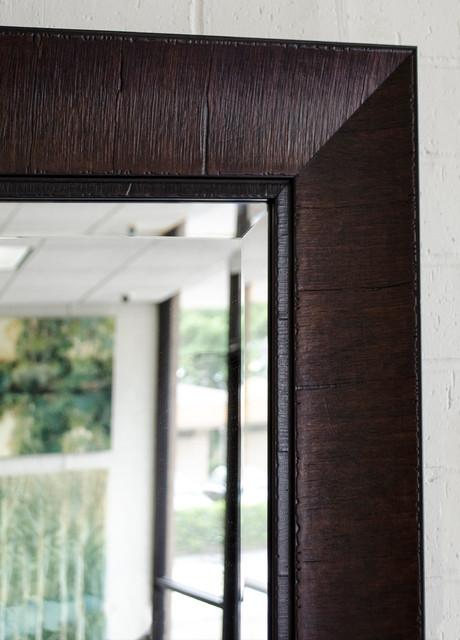 large floor mirror with dark espresso frame contemporary