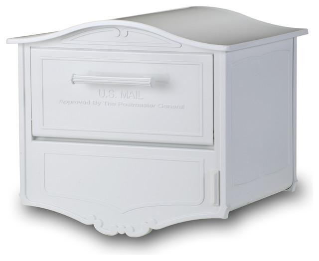 Geneva Locking Post Mount Mailbox White Traditional