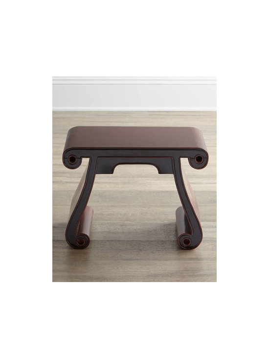 """Horchow - Antique Wooden Scroll Stool - With its scroll seat and scroll legs, this intriguing stool brings a bit of chinoiserie elan to the room. Made of pine, ash, mulberry, and elm. Stool may have a """"touched-up"""" finish. Circa Kuang Hsu period, 1875. Comes with certificate of antiquity....."""