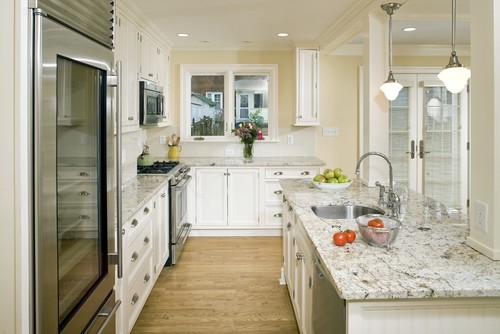 White Spring Granite Kitchen Countertops White Cabinets