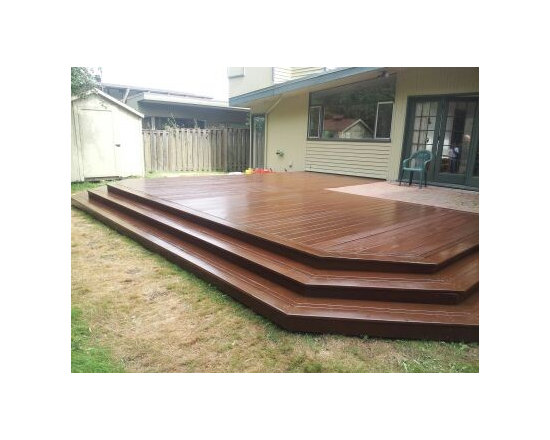 After Deck Repairs. Top Coated To Look Like Tigerwood Decking Without The Cost. - Cedar decking finish to look like tigerwood decking using 3 coats of Vermont Natual Coating.