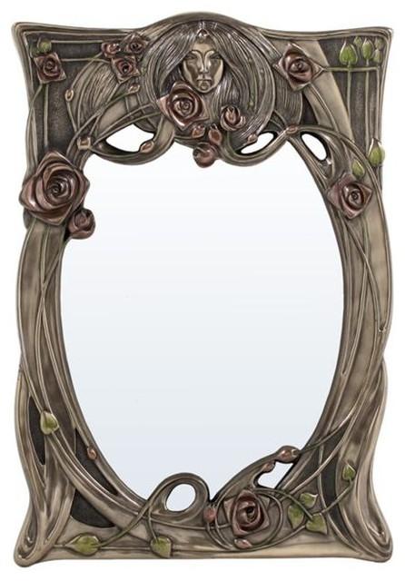 Inch art nouveau rectangular wall mirror face in for Miroir art nouveau
