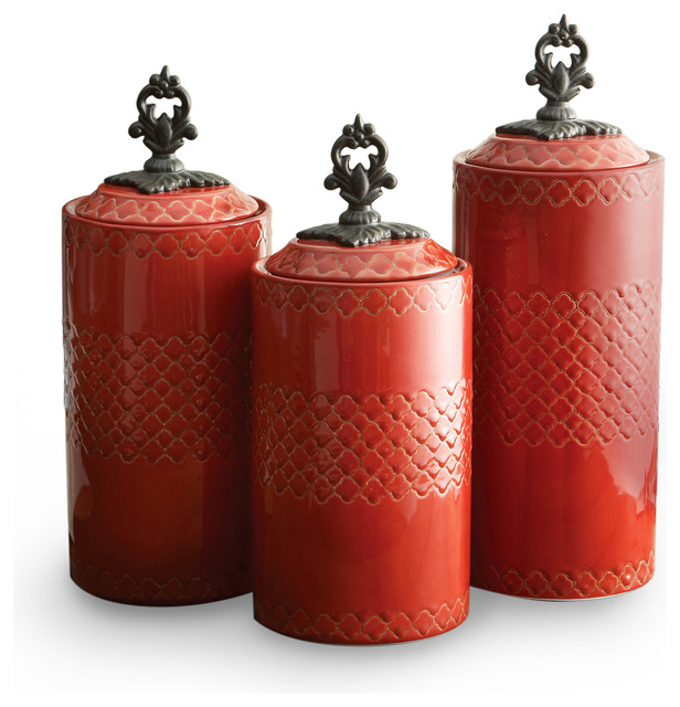 earthenware canisters set of 3 red contemporary food appealing canister sets for kitchen accessories ideas red