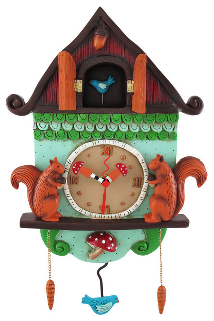 Allen designs 39 cuckoo bird 39 wall mounted pendulum clock eclectic clocks - Cuckoo pendulum wall clock ...
