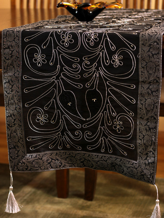 """Elegant Table Runners - Beautiful Mystic Black table runner with Silver border.  """"Ornamental Embroidered"""" made in India. Great complement to any table top."""