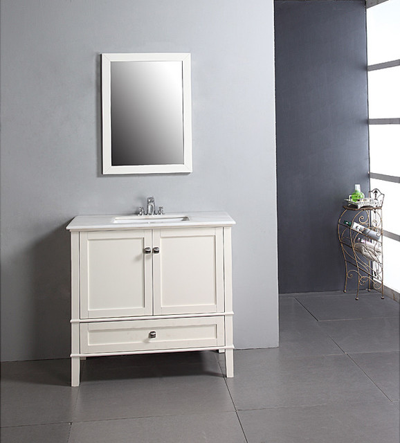 Windham Soft White 36 Inch Bath Vanity With 2 Doors Bottom Drawer And White