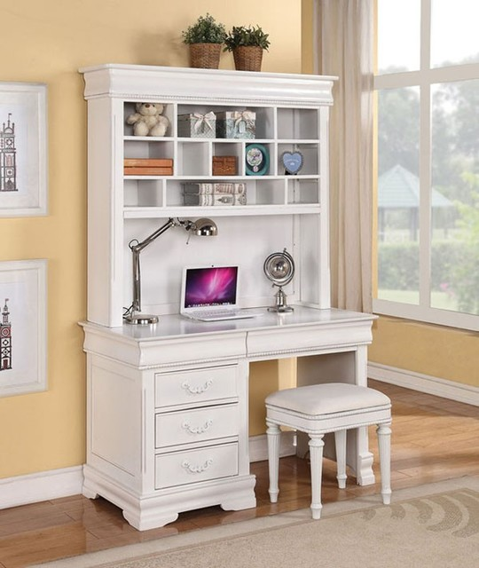 furniture classique white finished youth computer hutch and desk
