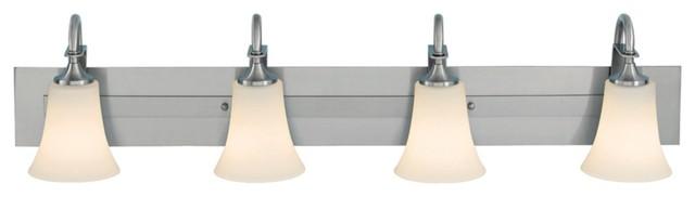 Contemporary Feiss Barrington Brushed Steel Four Light Bath Bar contemporary-bathroom-vanity-lighting
