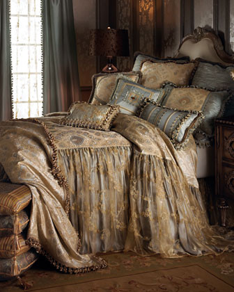 Sweet Dreams Crystal Palace Bed Linens Each Blue Silk Curtain, 90L traditional-curtains