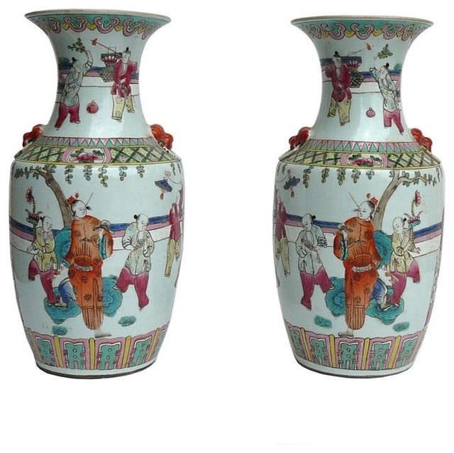 Pair Chinese Porcelain People Scenery Vases - Asian - Vases - by ...