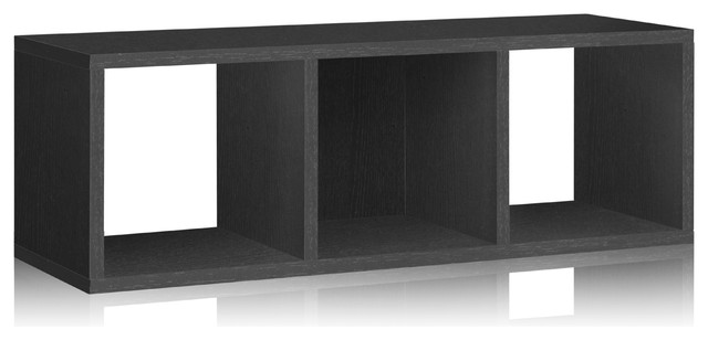 Way Basics 3 Cubby Stackable Organizer, Black modern-storage-cabinets