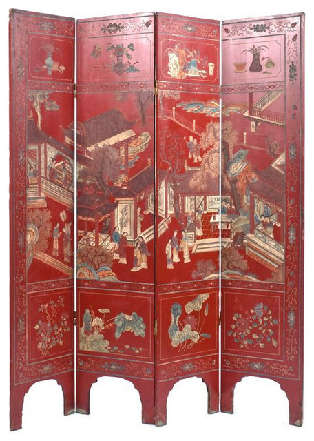 SOLD OUT! Red Antique Chinese Screen
