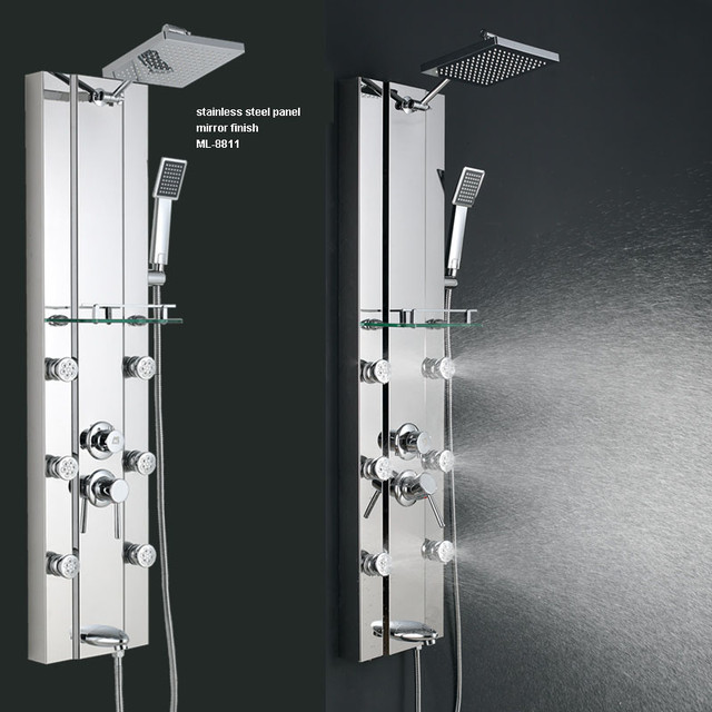 Body Jet Shower Bathroom: Stainless Steel Rainfall Shower Panel Tower Tub Faucet 6