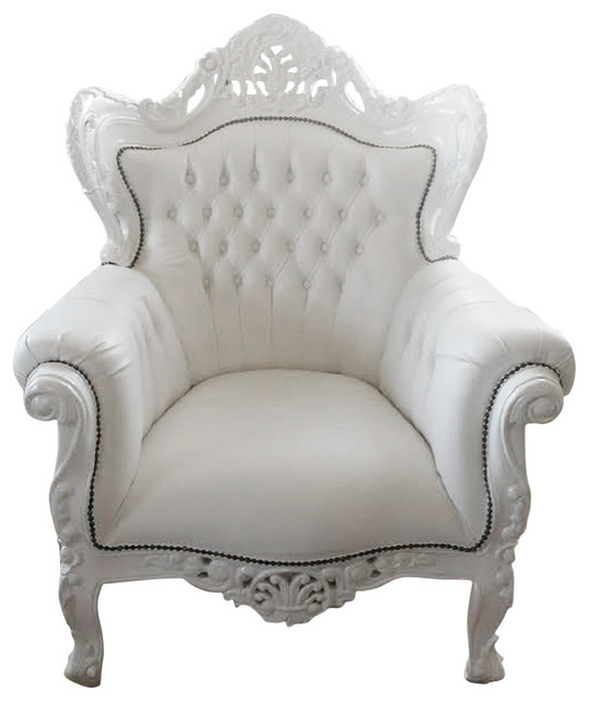 Large French Louis Xv Rococo Style White Armchair