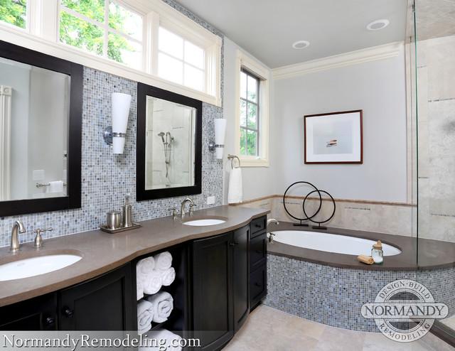 Spa bath espresso cabinets cool blues for Espresso bathroom ideas