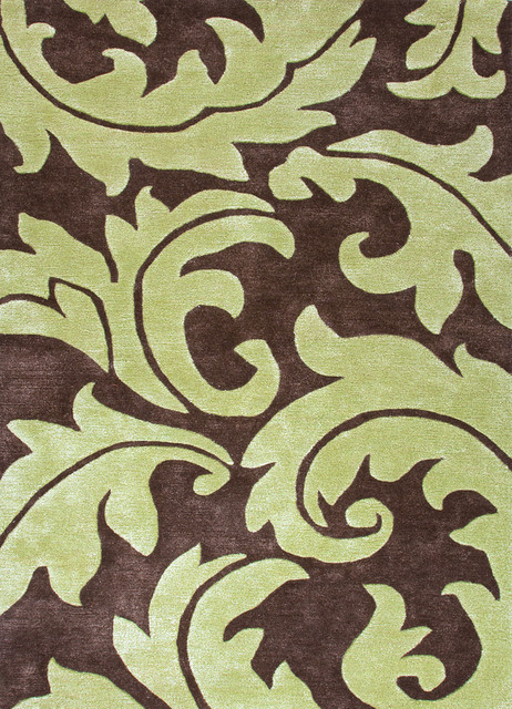 Transitional Abstract Pattern Beige /Brown Wool/Silk Tufted Rug - BL10, 3.6x5.6 contemporary-rugs