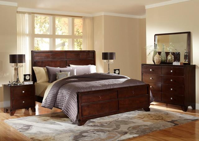 Baxton Studio Tichenor Queen 5 Piece Wooden Modern Bedroom Set Transitional