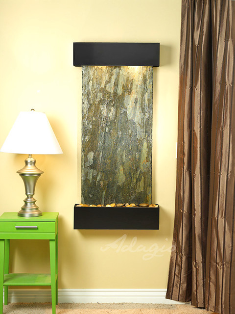 Slate Wall Mounted Water Features - The Cascade Springs with Green Slate contemporary-indoor-fountains