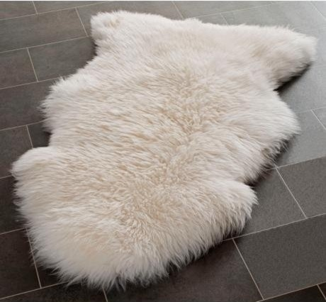 Genuine Sheepskin Rug Single Pelt Natural White Fur